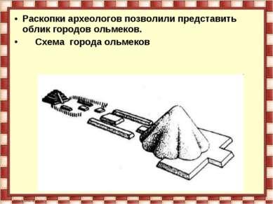 Раскопки археологов позволили представить облик городов ольмеков. Схема город...
