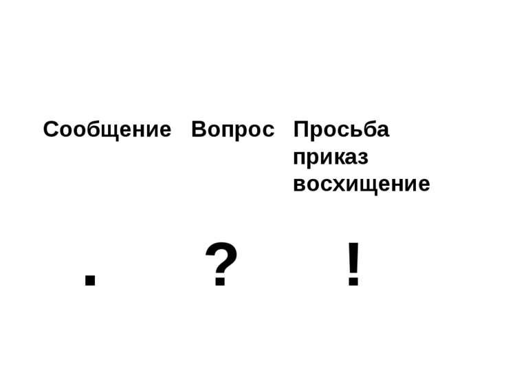 Сообщение Вопрос Просьба приказ восхищение . ? !