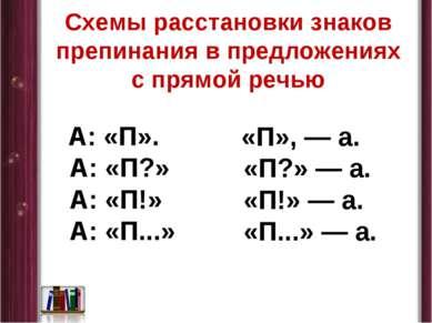 Схемы расстановки знаков препинания в предложениях с прямой речью А: «П». А: ...