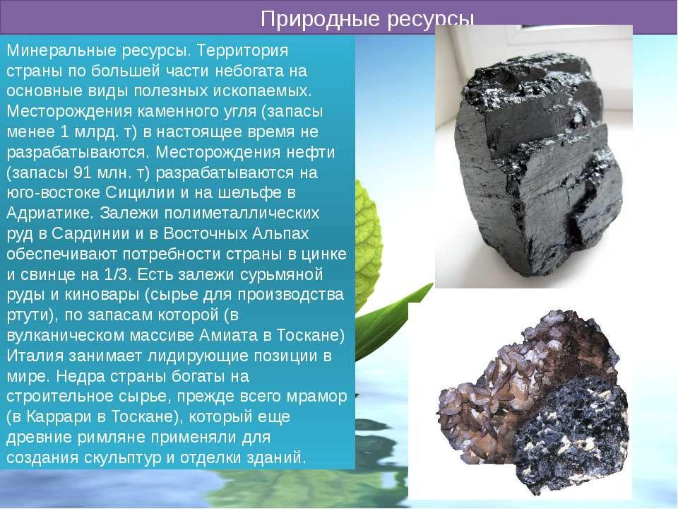 Природные ресурсы Минеральные ресурсы. Территория страны по большей части неб...