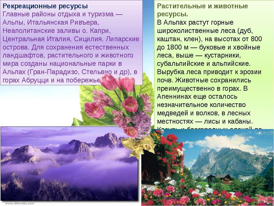 Рекреационные ресурсы Главные районы отдыха и туризма — Альпы, Итальянская Ри...