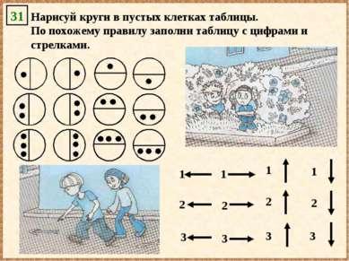 Нарисуй круги в пустых клетках таблицы. По похожему правилу заполни таблицу с...