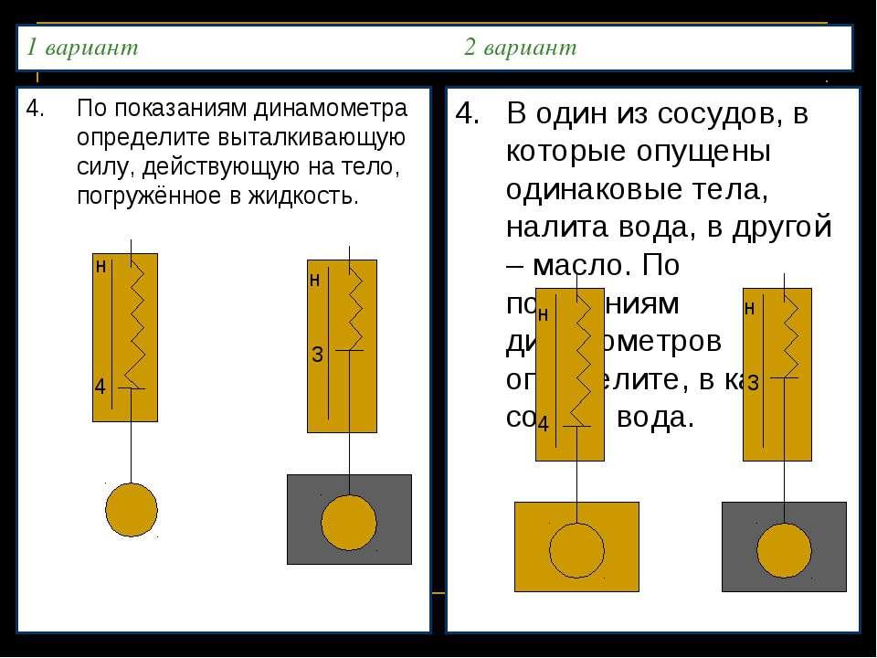 1 вариант 2 вариант 4. По показаниям динамометра определите выталкивающую сил...