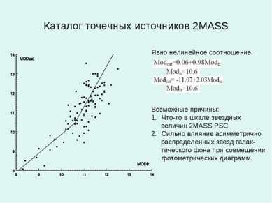 Каталог точечных источников 2MASS Явно нелинейное соотношение. Возможные прич...