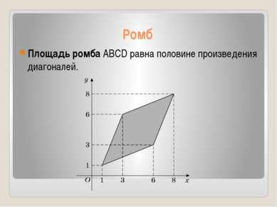 Ромб Площадь ромба ABCD равна половине произведения диагоналей.