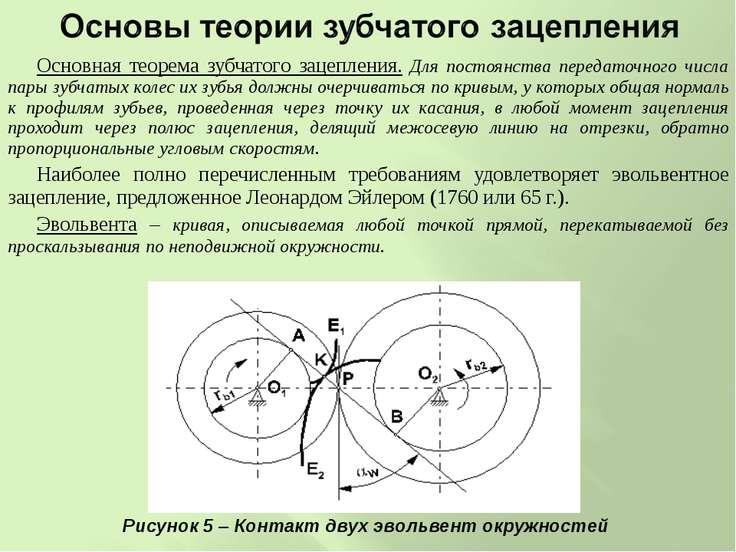 Основная теорема зубчатого зацепления. Для постоянства передаточного числа па...