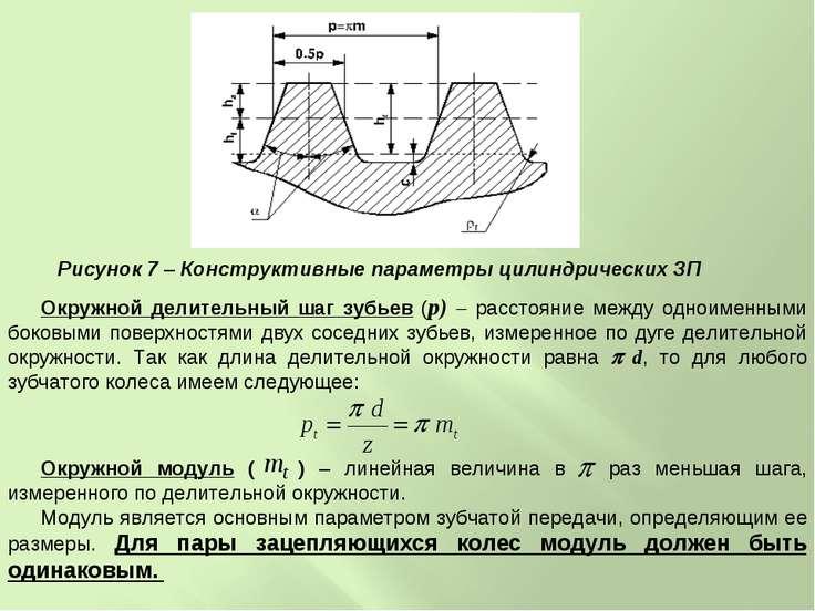 Окружной делительный шаг зубьев (p) расстояние между одноименными боковыми по...