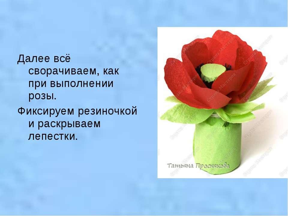 Далее всё сворачиваем, как при выполнении розы. Фиксируем резиночкой и раскры...