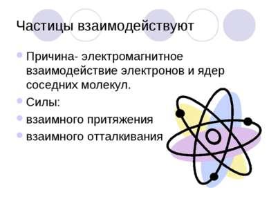 Частицы взаимодействуют Причина- электромагнитное взаимодействие электронов и...