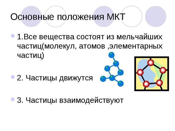 Основные положения МКТ 1.Все вещества состоят из мельчайших частиц(молекул, а...