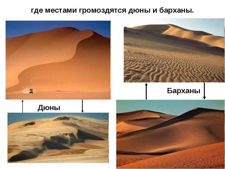 где местами громоздятся дюны и барханы. Дюны Барханы