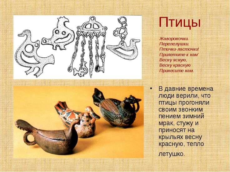 Птицы В давние времена люди верили, что птицы прогоняли своим звонким пением ...