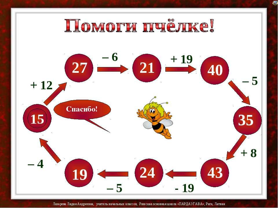 15 + 12 – 5 - 19 + 8 – 5 + 19 – 6 27 19 24 43 35 40 21 Спасибо! – 4 Лазарева ...