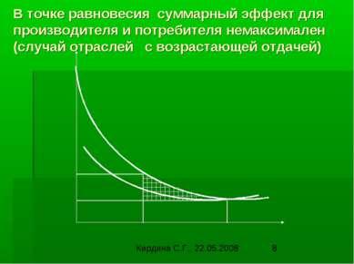В точке равновесия суммарный эффект для производителя и потребителя немаксима...