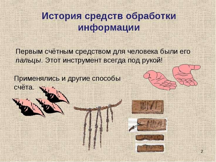 * Первым счётным средством для человека были его пальцы. Этот инструмент всег...