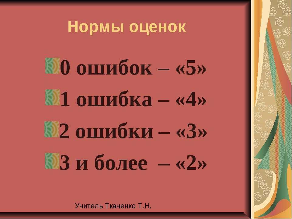 Нормы оценок 0 ошибок – «5» 1 ошибка – «4» 2 ошибки – «3» 3 и более – «2» Учи...