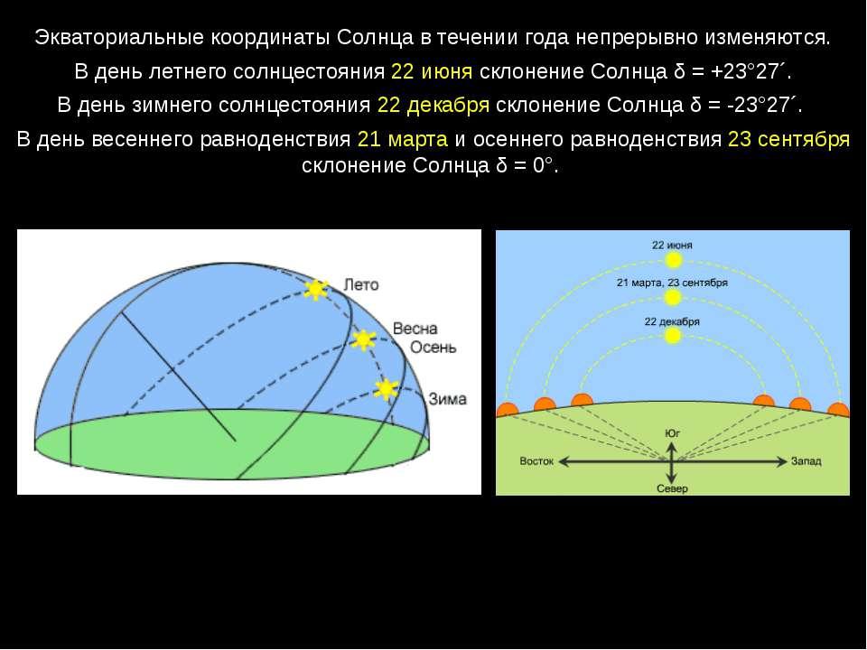 Экваториальные координаты Солнца в течении года непрерывно изменяются. В день...