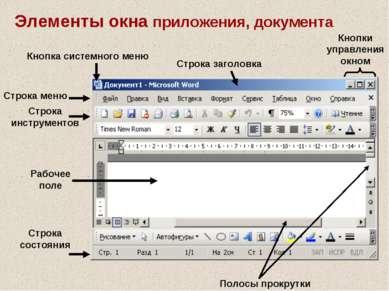 Элементы окна приложения, документа Строка заголовка Строка меню Строка инстр...