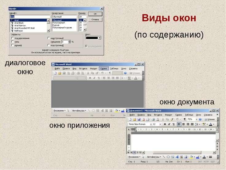 Виды окон (по содержанию) диалоговое окно окно приложения окно документа