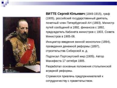 ВИТТЕ Сергей Юльевич (1849-1915), граф (1905), российский государственный дея...