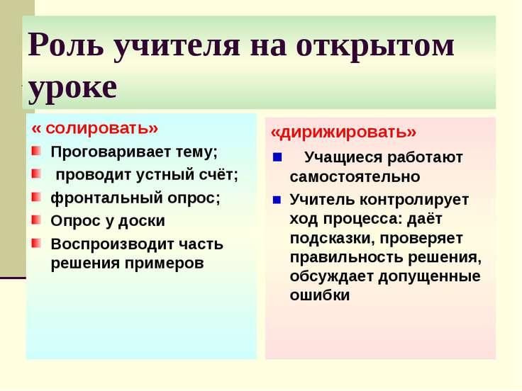 Роль учителя на открытом уроке « солировать» Проговаривает тему; проводит уст...