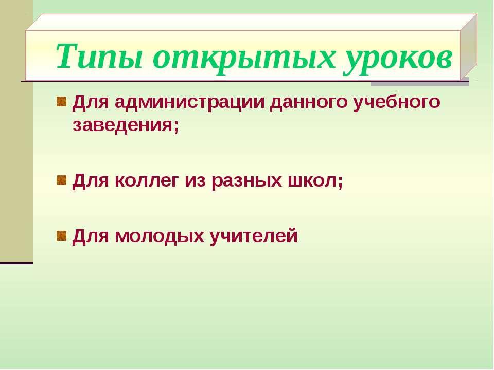Типы открытых уроков Для администрации данного учебного заведения; Для коллег...