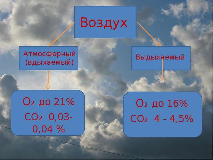 Воздух Атмосферный (вдыхаемый) Выдыхаемый О2 до 21% СО2 0,03-0,04 % О2 до 16%...