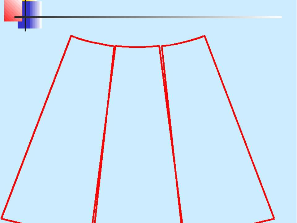 Переднее полотнище юбки-шестиклинки