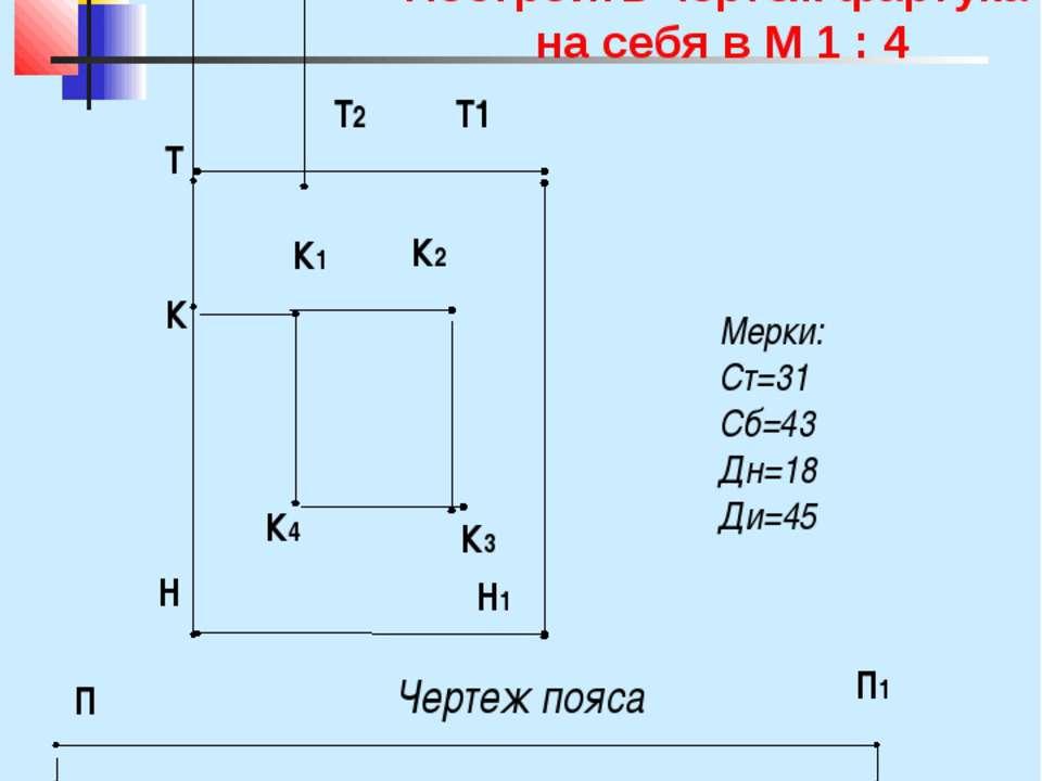 Чертеж фартука Мерки: Ст=31 Сб=43 Дн=18 Ди=45 Н Н1 Т2 В В1 К К1 Чертеж пояса ...