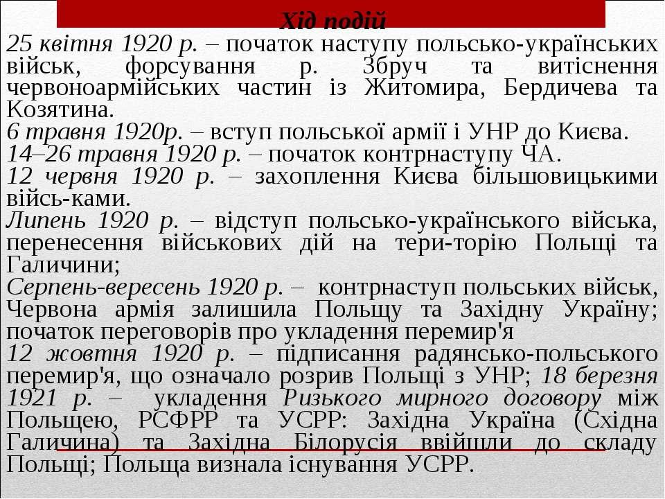 Хід подій 25 квітня 1920 р. – початок наступу польсько-українських військ, фо...