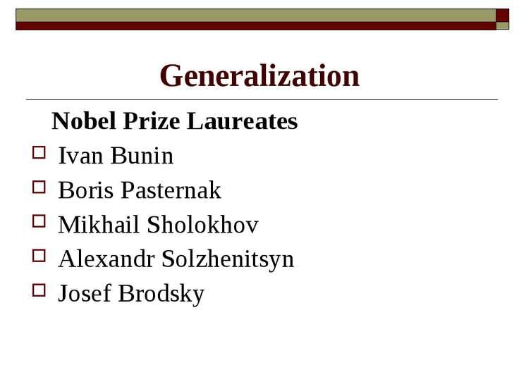 Generalization Nobel Prize Laureates Ivan Bunin Boris Pasternak Mikhail Sholo...