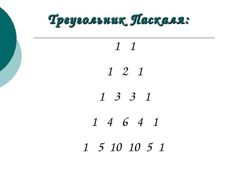 1 1 1 2 1 1 3 3 1 1 4 6 4 1 1 5 10 10 5 1 Треугольник Паскаля: