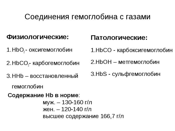 Соединения гемоглобина с газами Физиологические: HbO2 - оксигемоглобин HbCO2-...