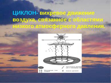 ЦИКЛОН- вихревое движение воздуха, связанное с областями низкого атмосферного...