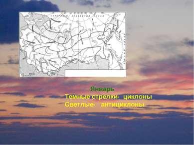 Январь Темные стрелки- циклоны Светлые- антициклоны