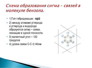 1)Тип гибридизации - sр2 2) между атомами углерода и углерода и водорода обра...