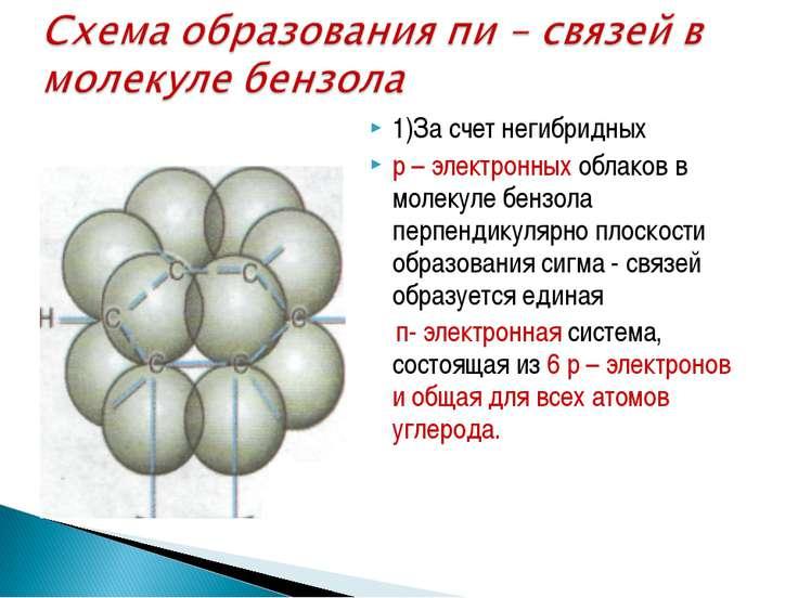 1)За счет негибридных р – электронных облаков в молекуле бензола перпендикуля...