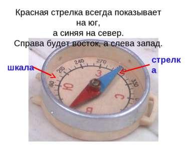 Красная стрелка всегда показывает на юг, а синяя на север. Справа будет восто...