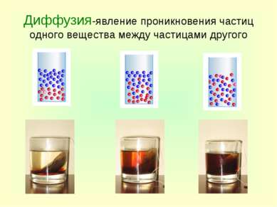 Диффузия-явление проникновения частиц одного вещества между частицами другого