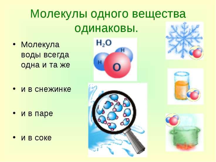 Молекулы одного вещества одинаковы. Молекула воды всегда одна и та же и в сне...