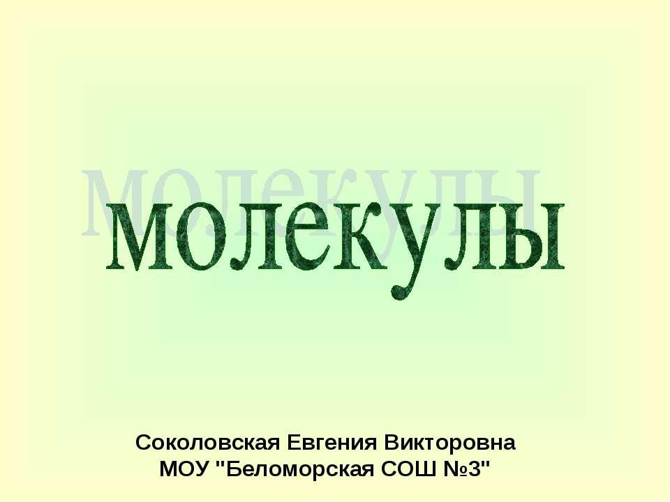 """Соколовская Евгения Викторовна МОУ """"Беломорская СОШ №3"""""""