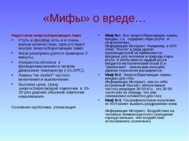 «Мифы» о вреде… Недостатки энергосберегающих ламп Ртуть и фосфор хоть и в оче...