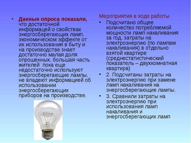 Данные опроса показали, что достаточной информацей о свойствах энергосберегаю...
