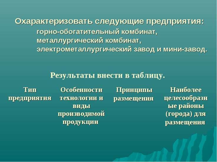 Охарактеризовать следующие предприятия: горно-обогатительный комбинат, металл...