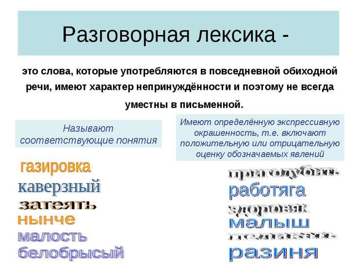 Разговорная лексика - это слова, которые употребляются в повседневной обиходн...