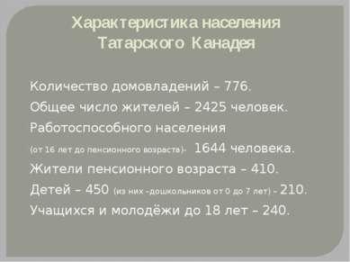 Характеристика населения Татарского Канадея Количество домовладений – 776. Об...