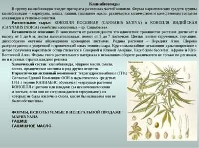 Каннабиноиды В группу каннабиноидов входят препараты различных частей конопли...