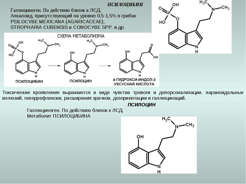 ПСИЛОЦИБИН Галлюциноген. По действию близок к ЛСД. Алкалоид, присутствующий н...
