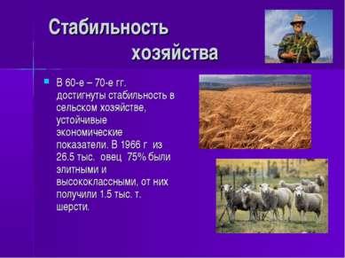 Стабильность хозяйства В 60-е – 70-е гг. достигнуты стабильность в сельском х...