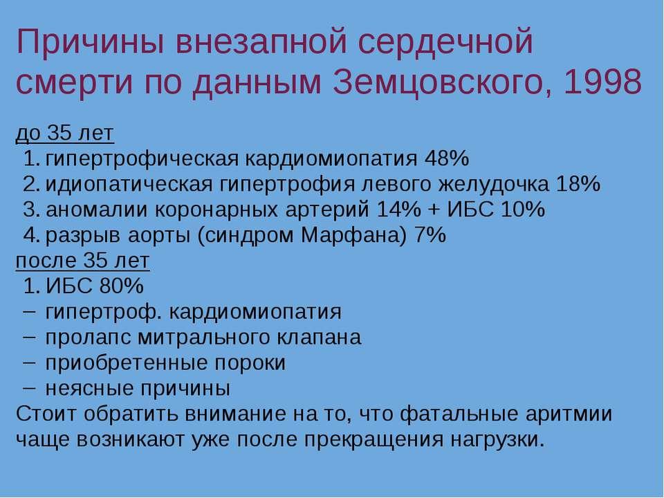 Причины внезапной сердечной смерти по данным Земцовского, 1998 до 35 лет гипе...